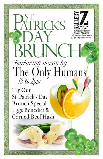 St Patricks Day Brunch at Gallery Z March 17th 11am